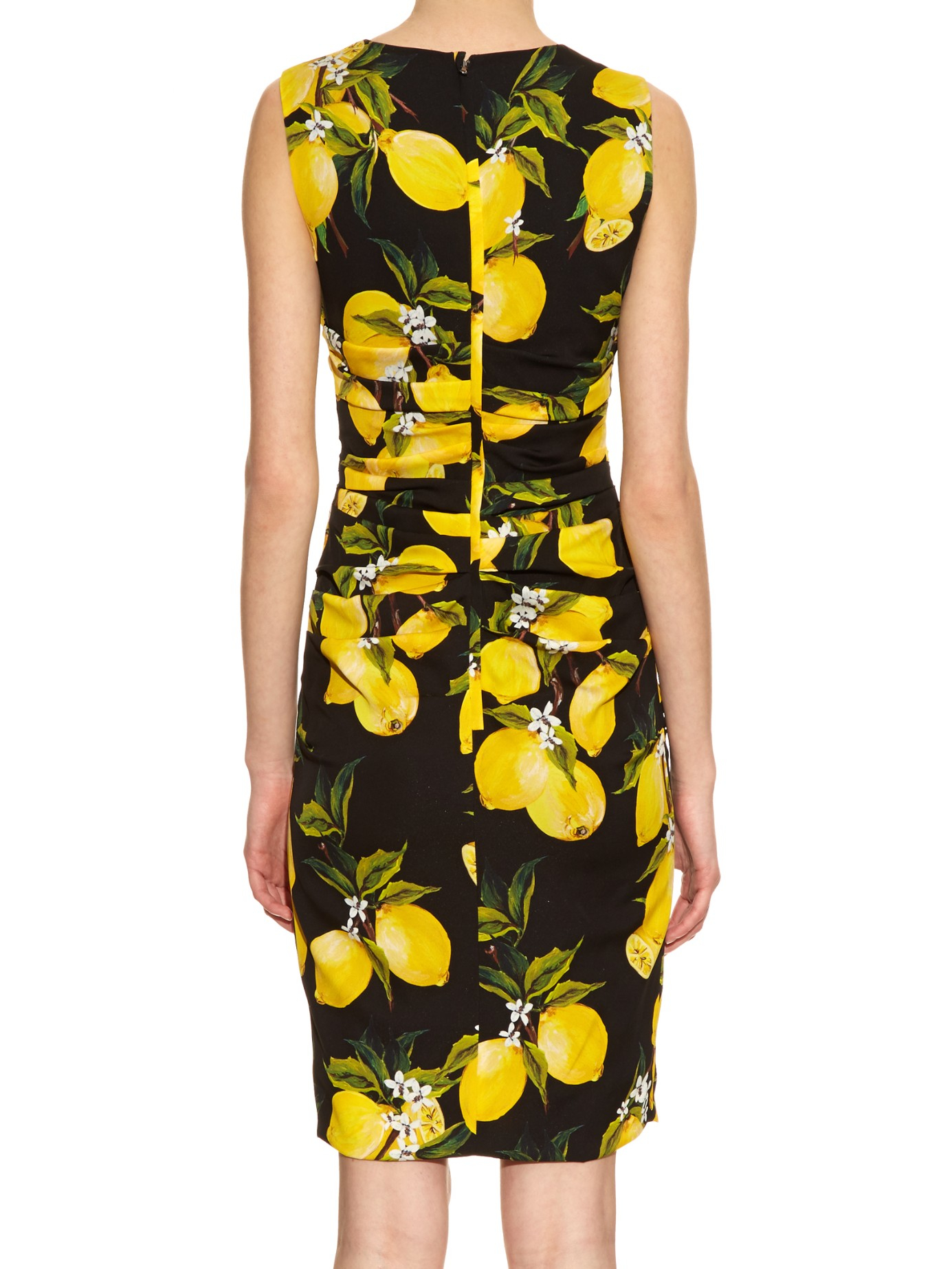 Lyst - Dolce   Gabbana Lemon-print Ruched Silk Dress in Black 4a5f25351da30