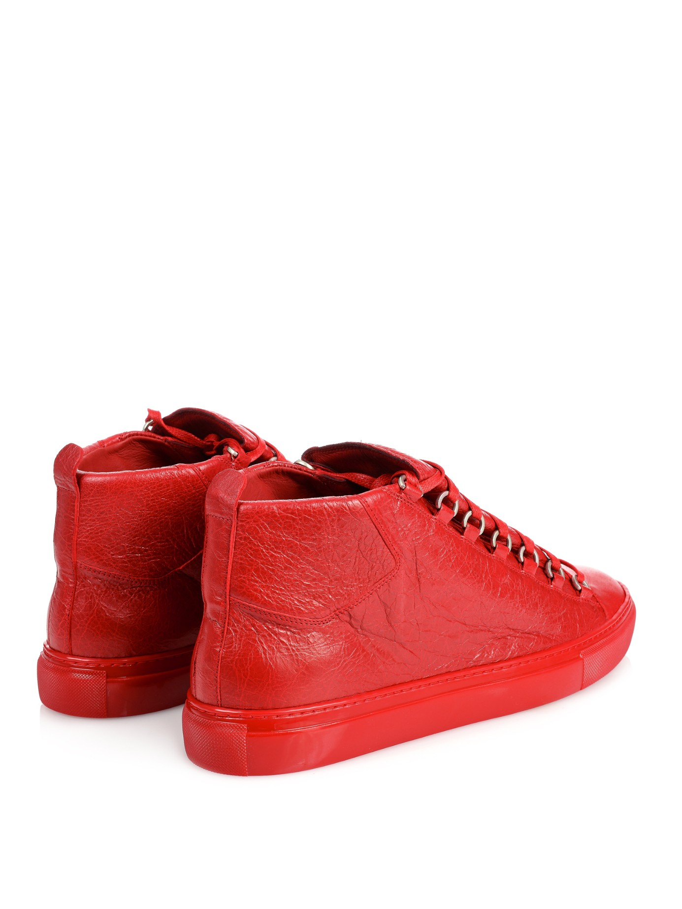 Balenciaga Arena Red Leather High Top Shoes