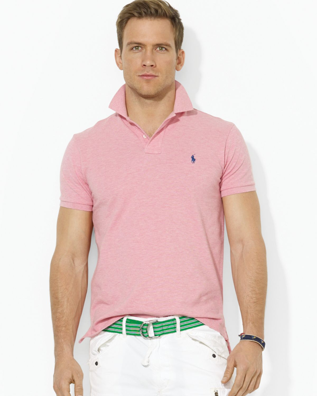 0894e20d Ralph Lauren Polo Custom Mesh Polo Shirt Slim Fit in Pink for Men - Lyst