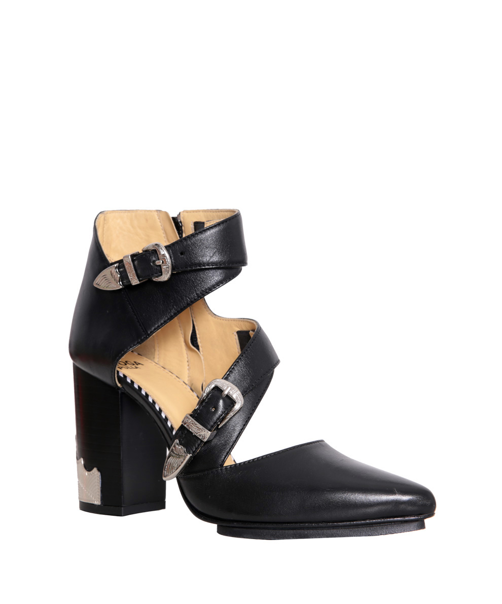 toga pulla leather cut out ankle boots in black lyst