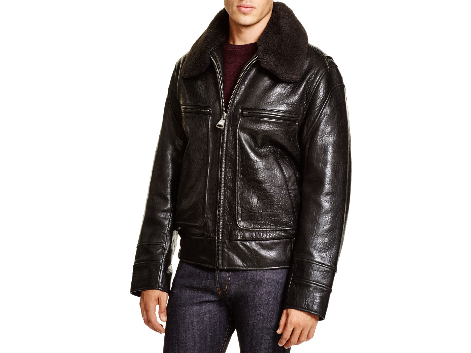 Black Leather Aviator Jacket