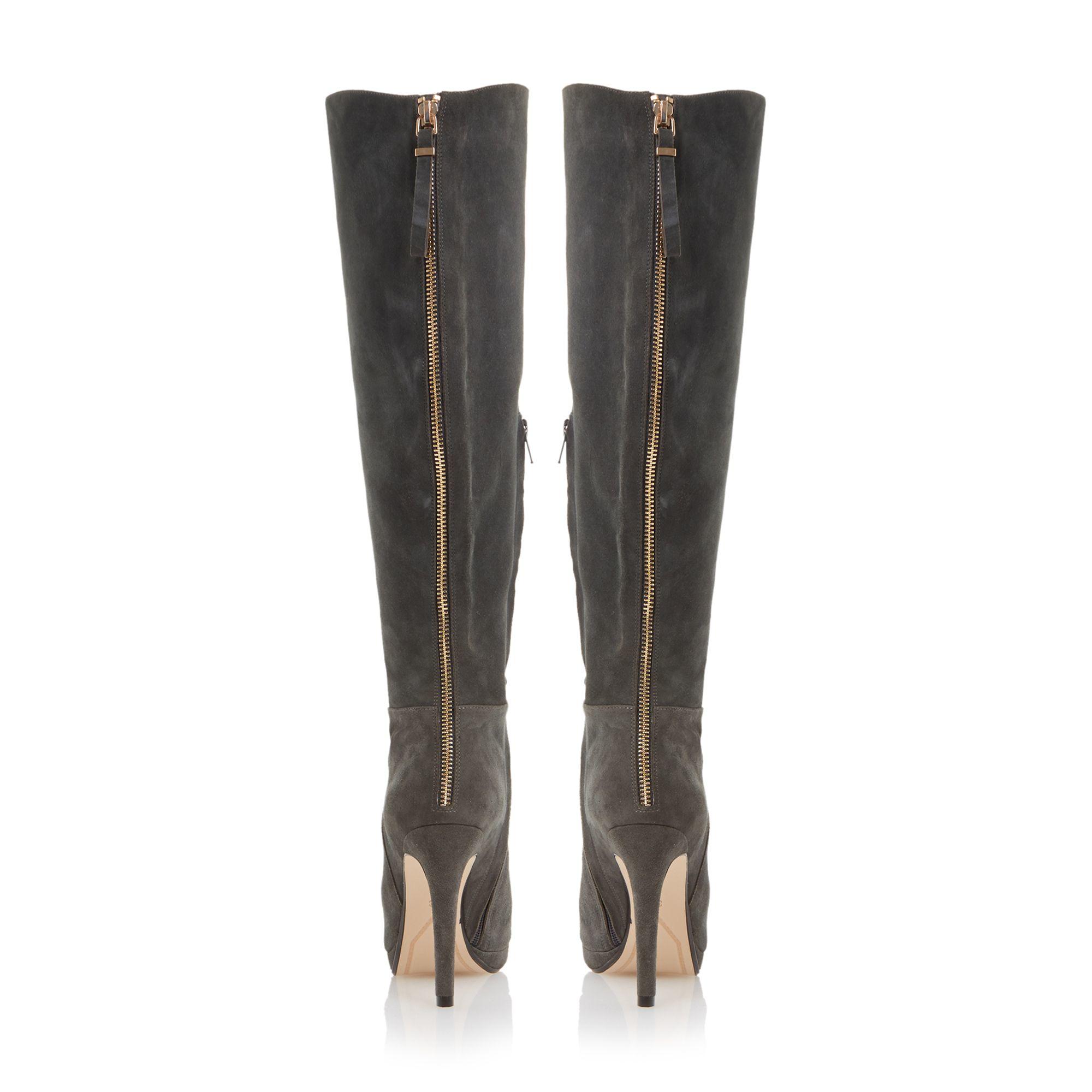 dune skyler suede high heel knee high boots in gray grey