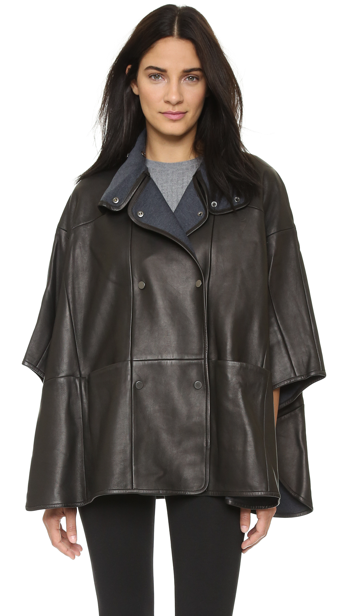 Vince Leather Cape Black In Black Lyst