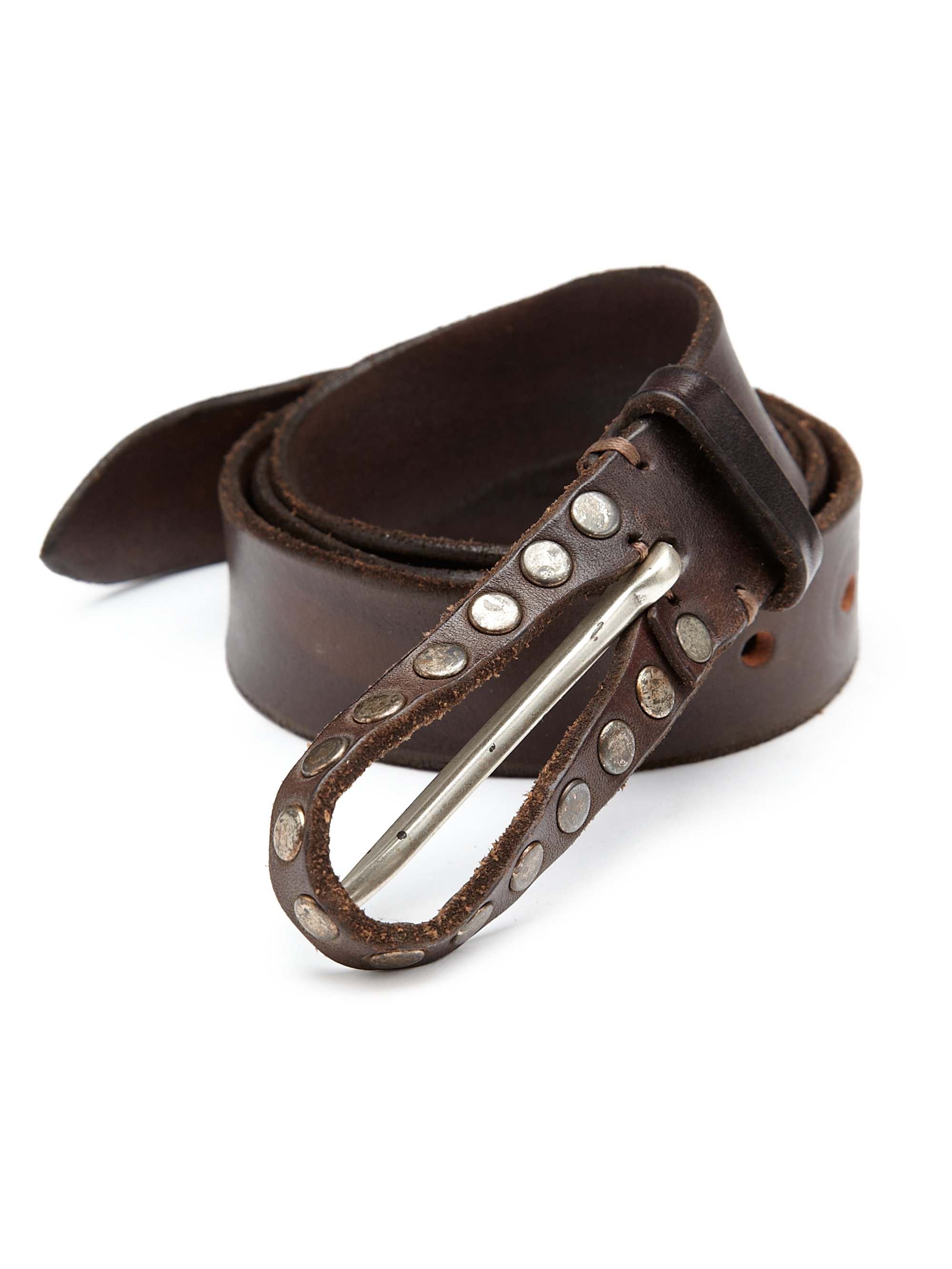 orciani studded leather belt in brown for lyst
