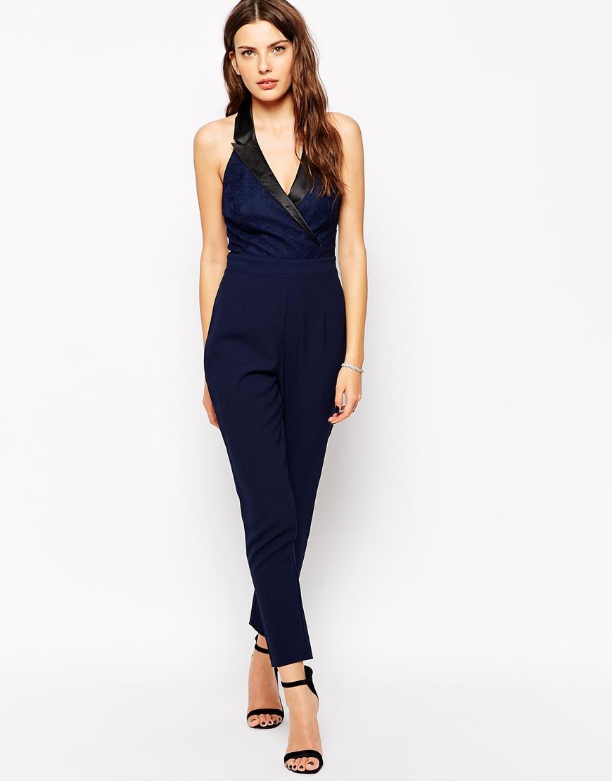 6bef2e923b Lyst - Lipsy Michelle Keegan Loves Tuxedo Jumpsuit - 011 Black in Black
