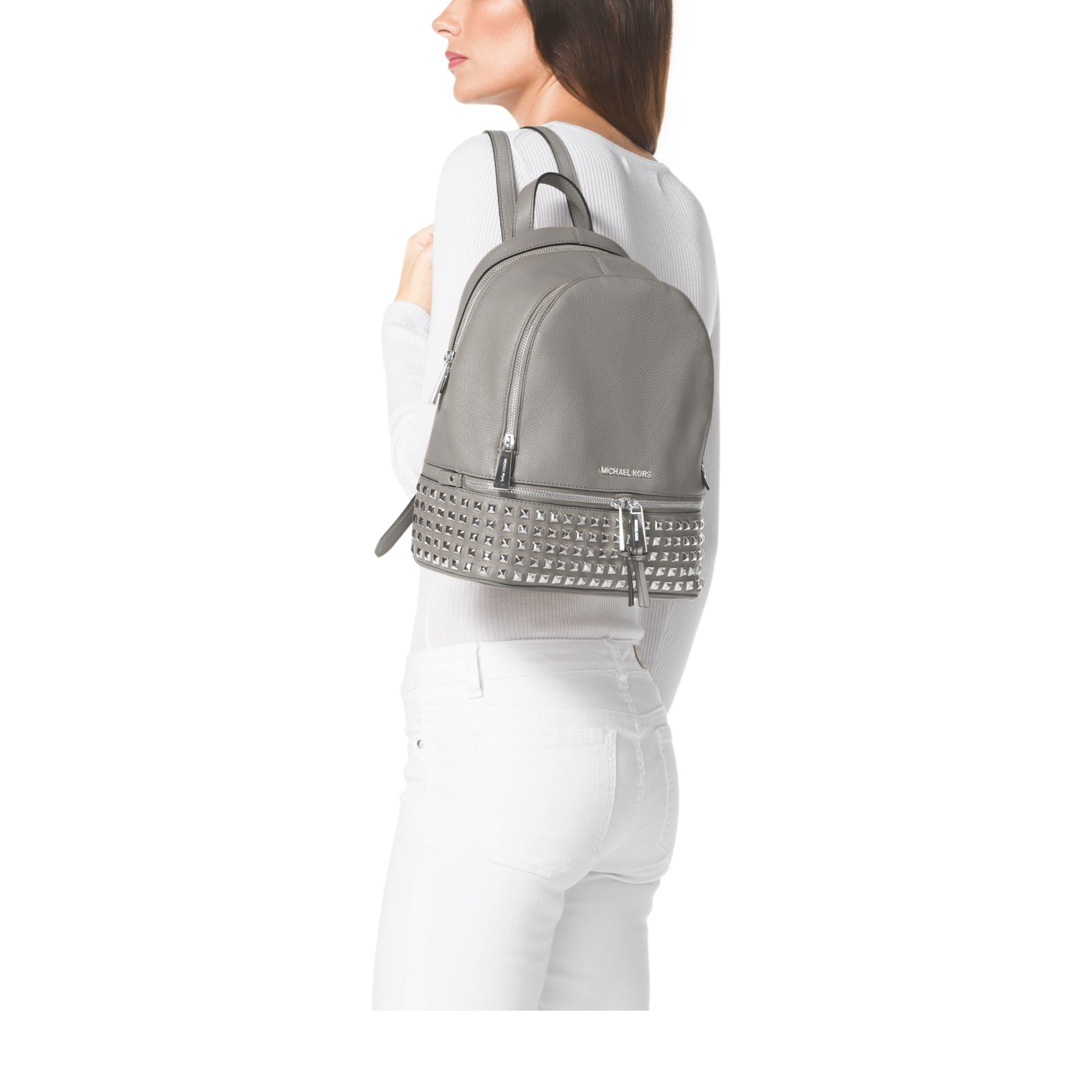 4ce7581e36fb ... Michael kors Rhea Small Studded Leather Backpack in White ...