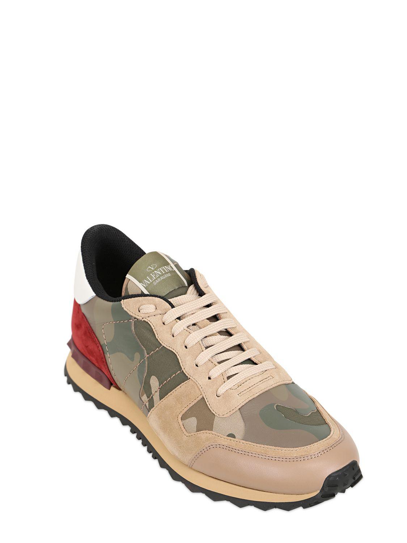 blue Rockstud camouflage print leather sneakers Valentino Mahuz3ya