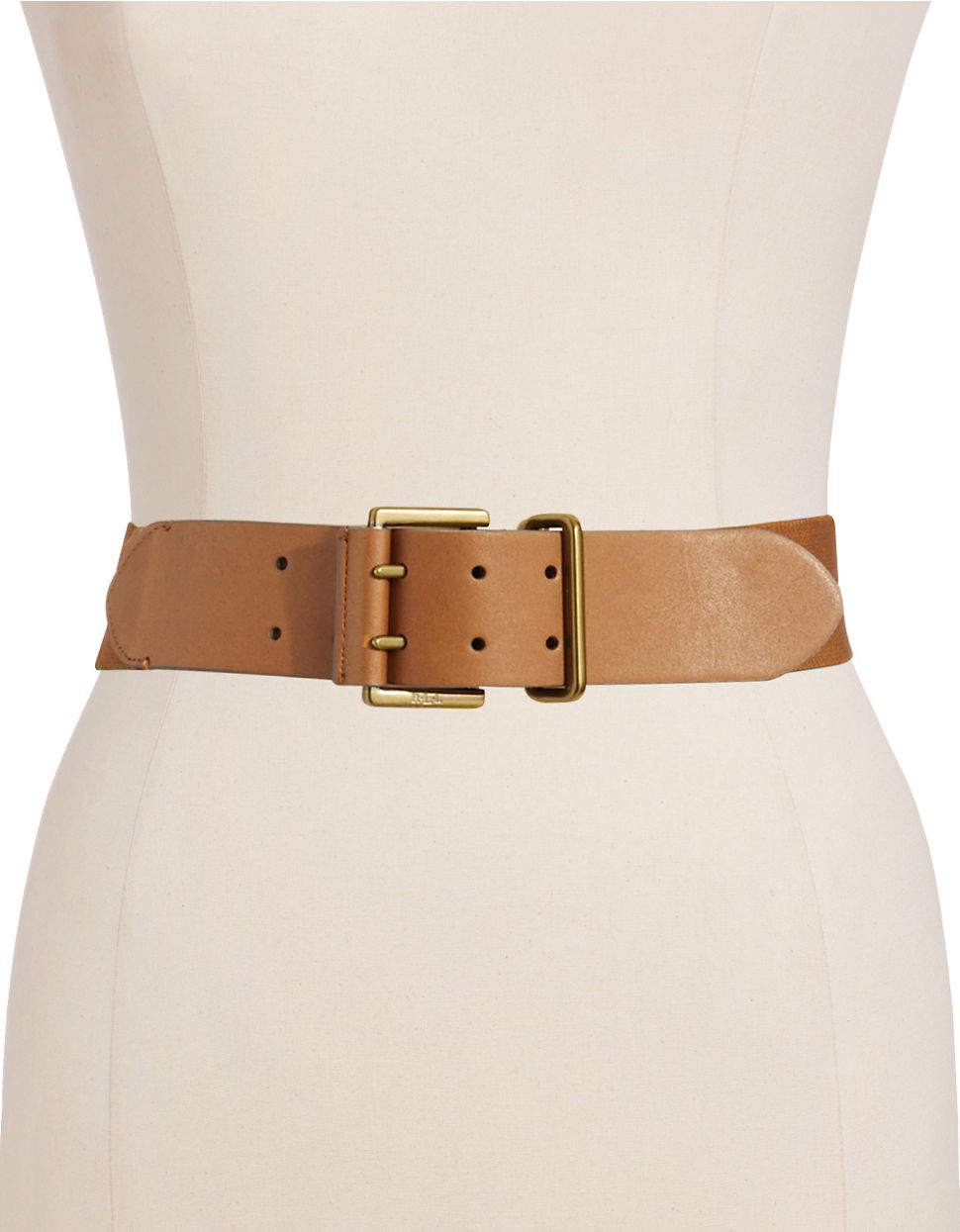 by ralph wide stretch belt in brown lyst