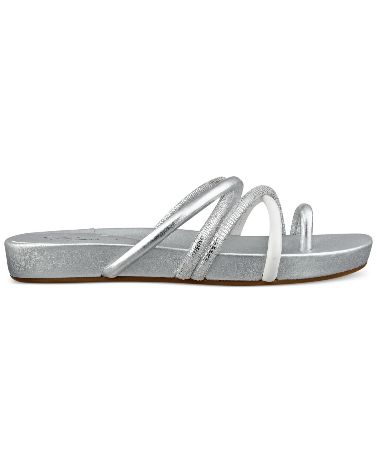Guess Women's Jiyana Flat Foobed Sandals in Silver | Lyst