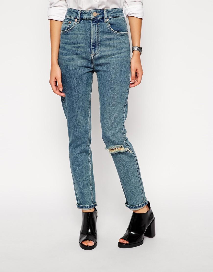 Lyst - Asos Farleigh High Waist Slim Mom Jeans In Rosebowl Mid Wash ... 8f0c1697546a