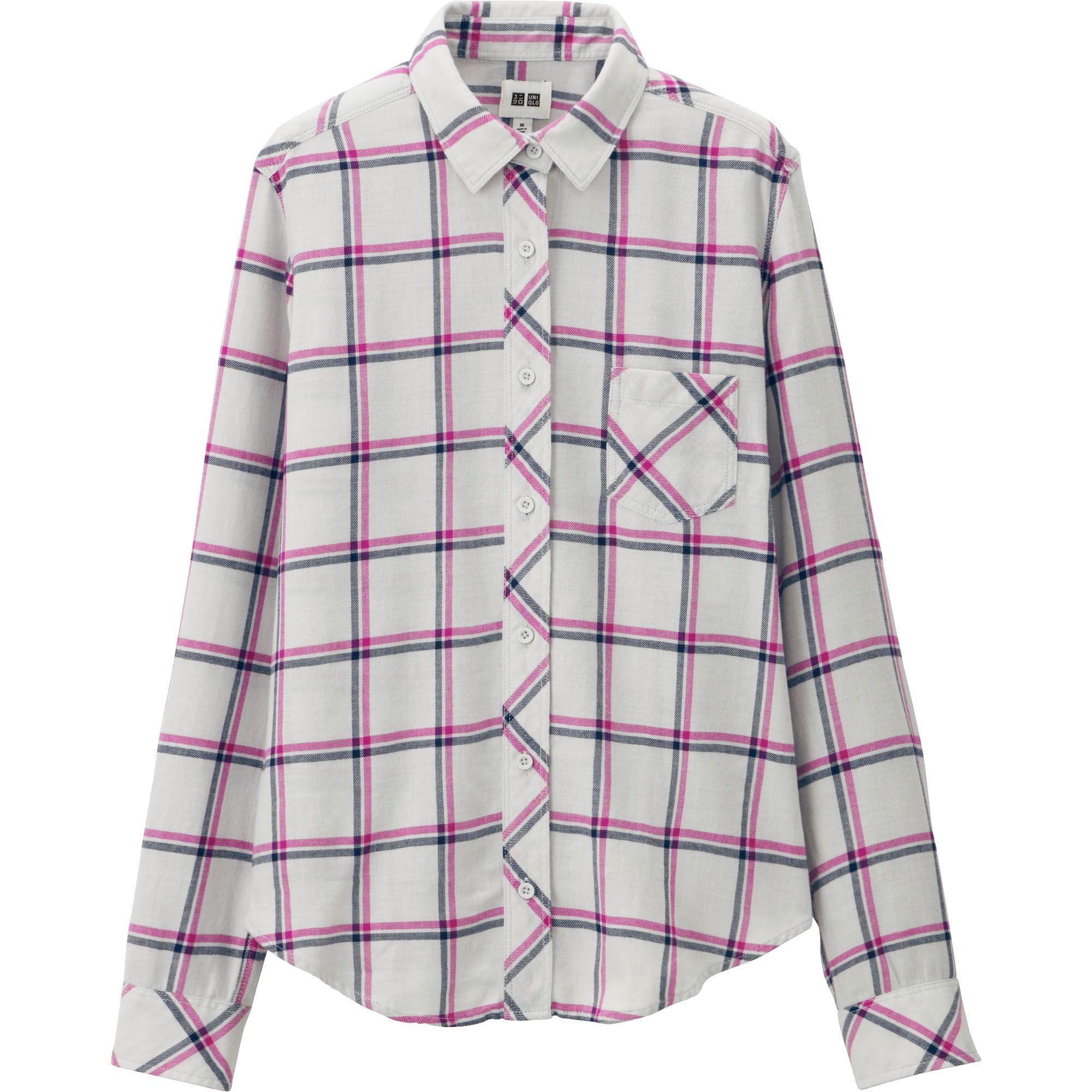 Uniqlo Women Light Flannel Long Sleeve Shirt In Pink