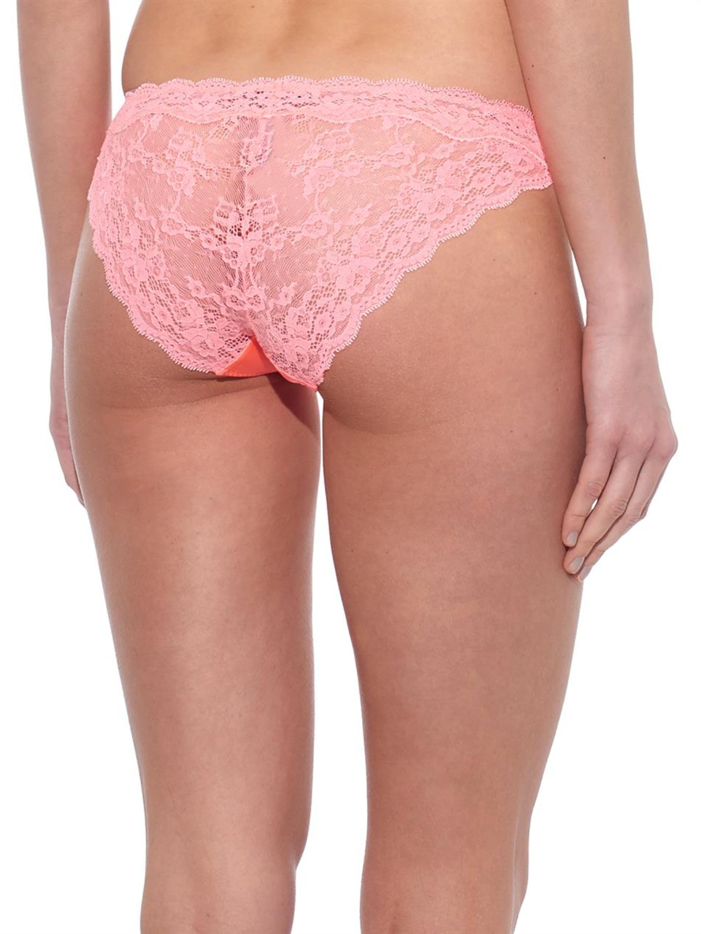 Stella mccartney Clara Whispering Lace Briefs in Pink | Lyst