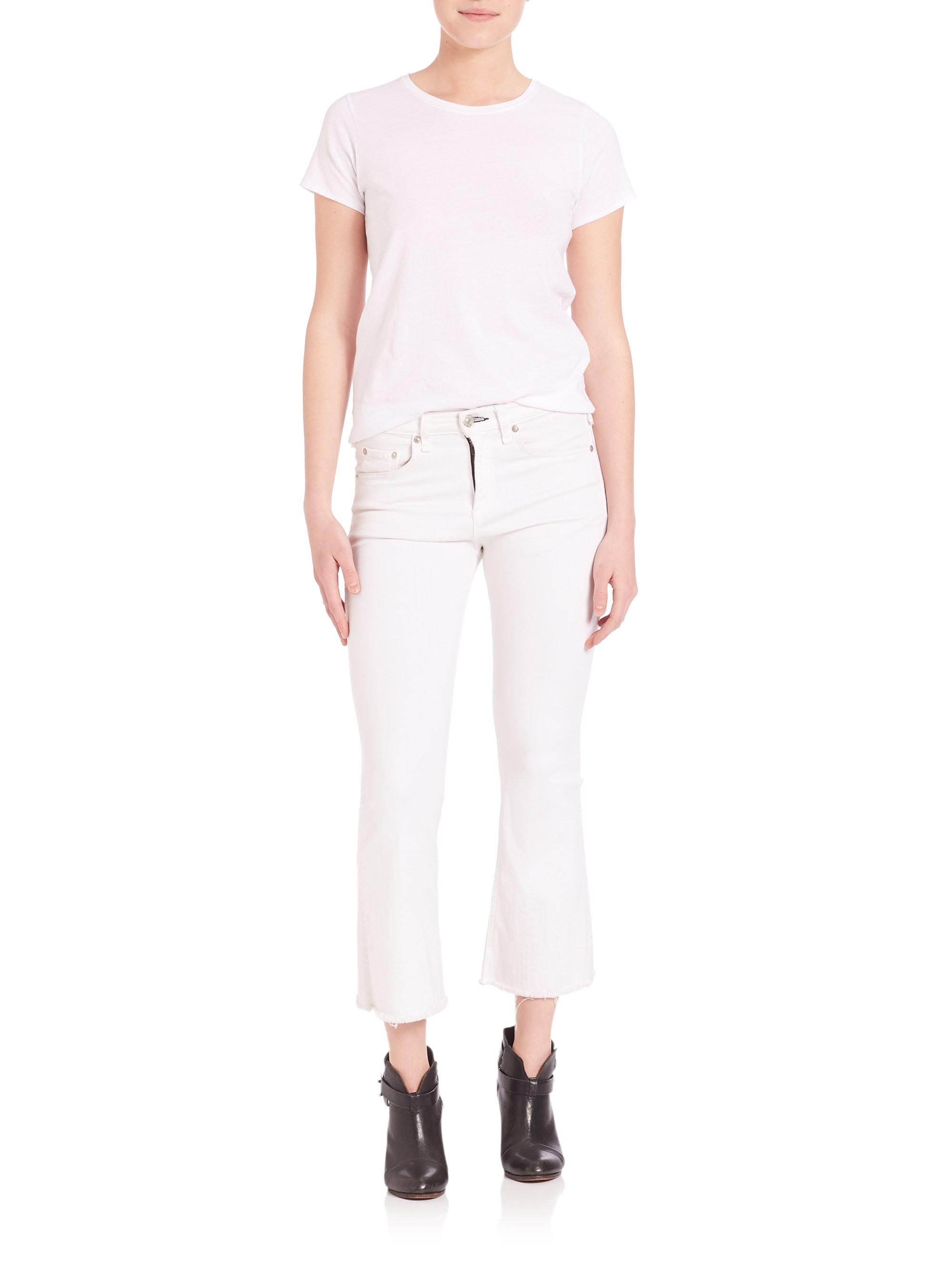 Rag & bone Cropped Released-hem Flare Jeans in White | Lyst
