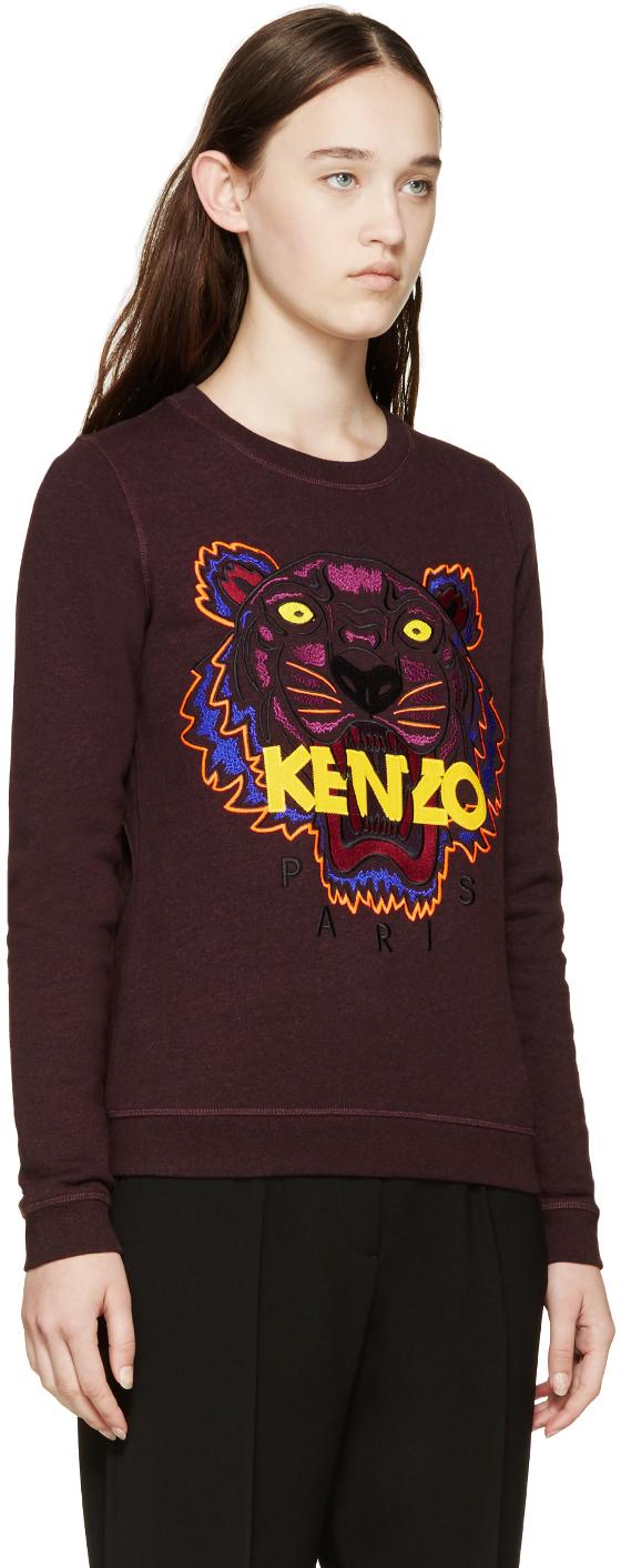 5faf9fe4 KENZO Plum Embroidered Tiger Sweatshirt in Purple - Lyst