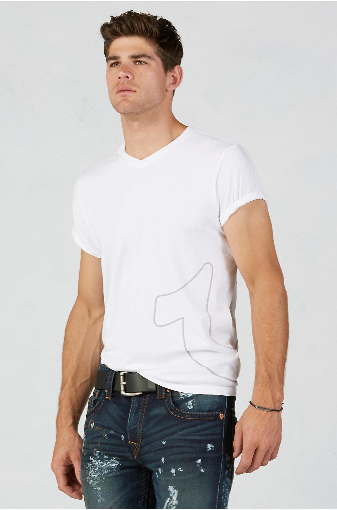 True religion white hand picked printed v neck mens t for White v neck shirt mens