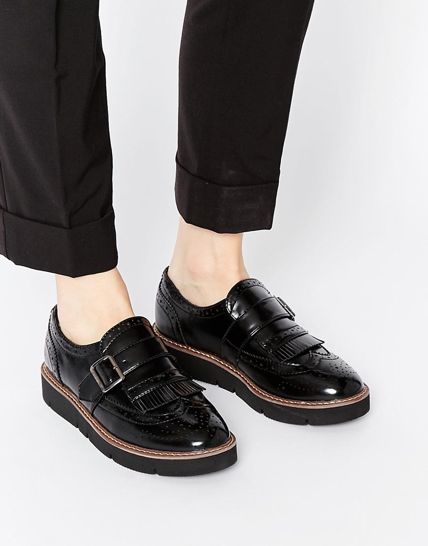 London rebel Chunky Strap Flatform Shoes in Black | Lyst
