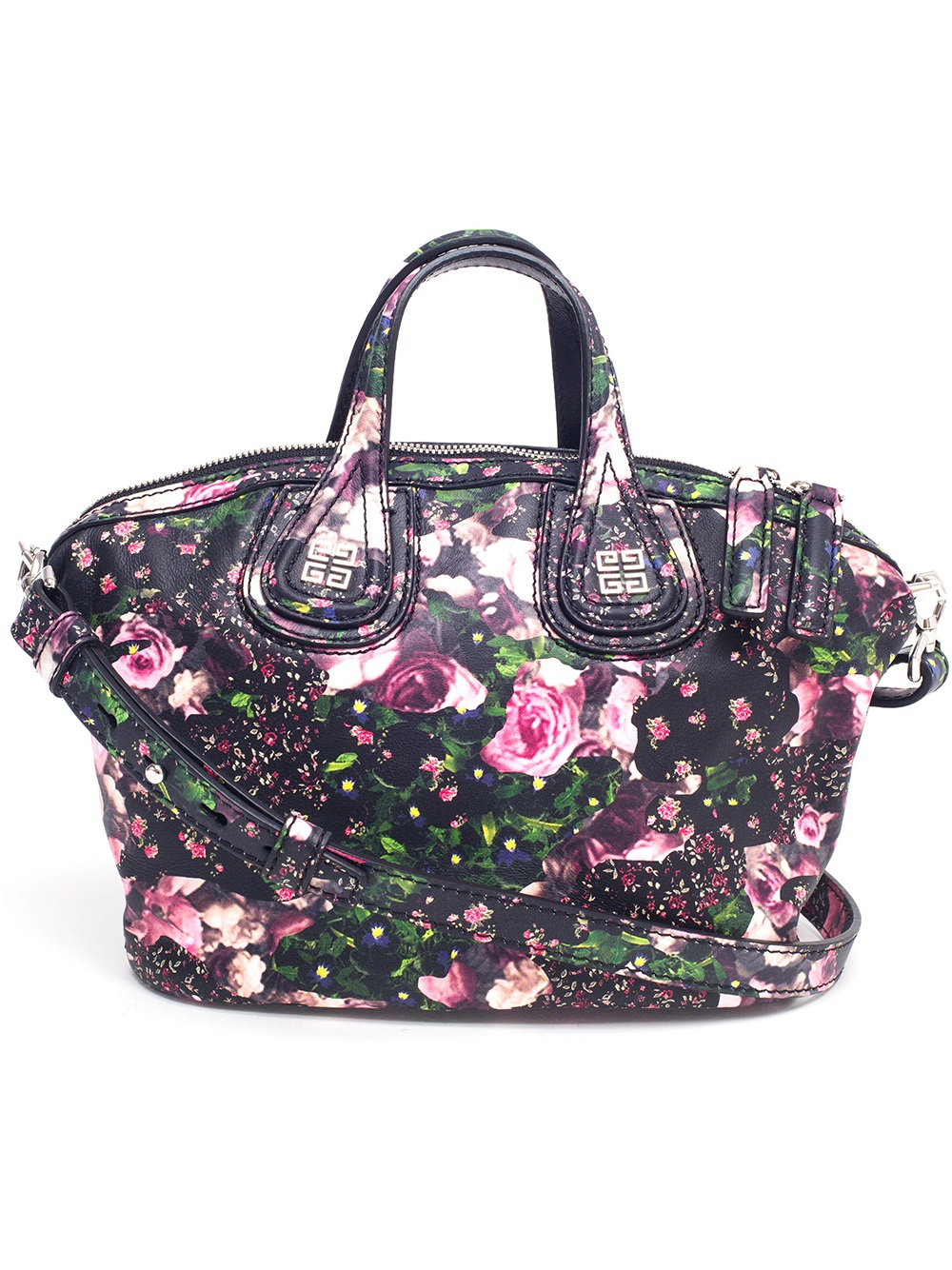 9cade2e1dc05e Lyst - Givenchy Nightingale Micro Floral Leather Bag in Pink