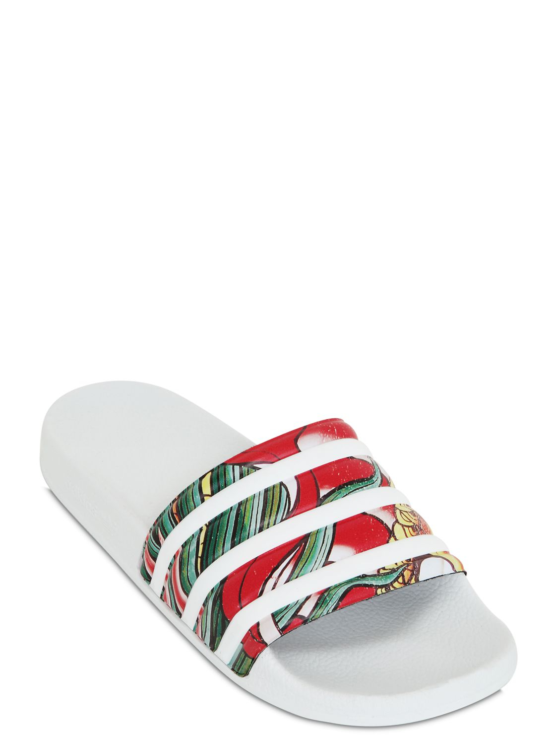 72a7eb064b7a adidas Originals Js Adilet Printed Slide Sandals in White - Lyst