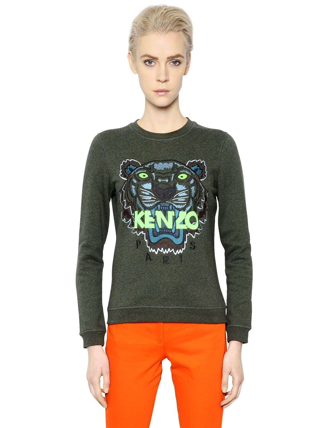 d05ec589 KENZO Tiger Embroidered Cotton Sweatshirt in Green - Lyst