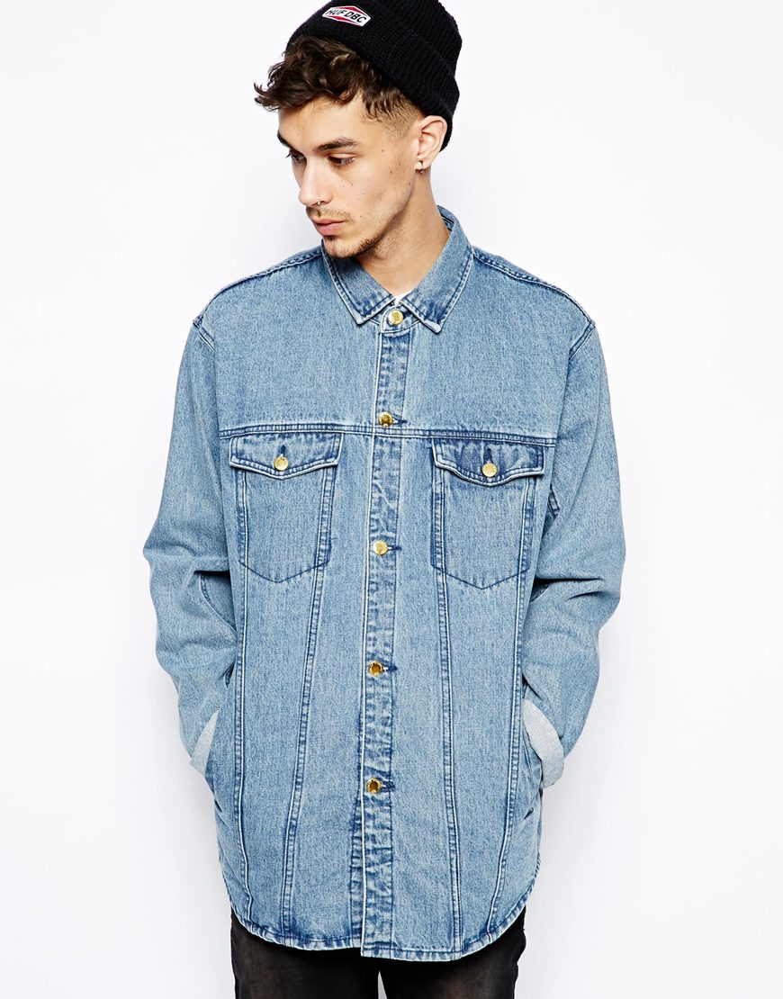 Cheap monday Longline Denim Jacket in Blue for Men | Lyst