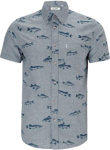 Ben sherman fish print short sleeve shirt in blue for men for Fish print shirt
