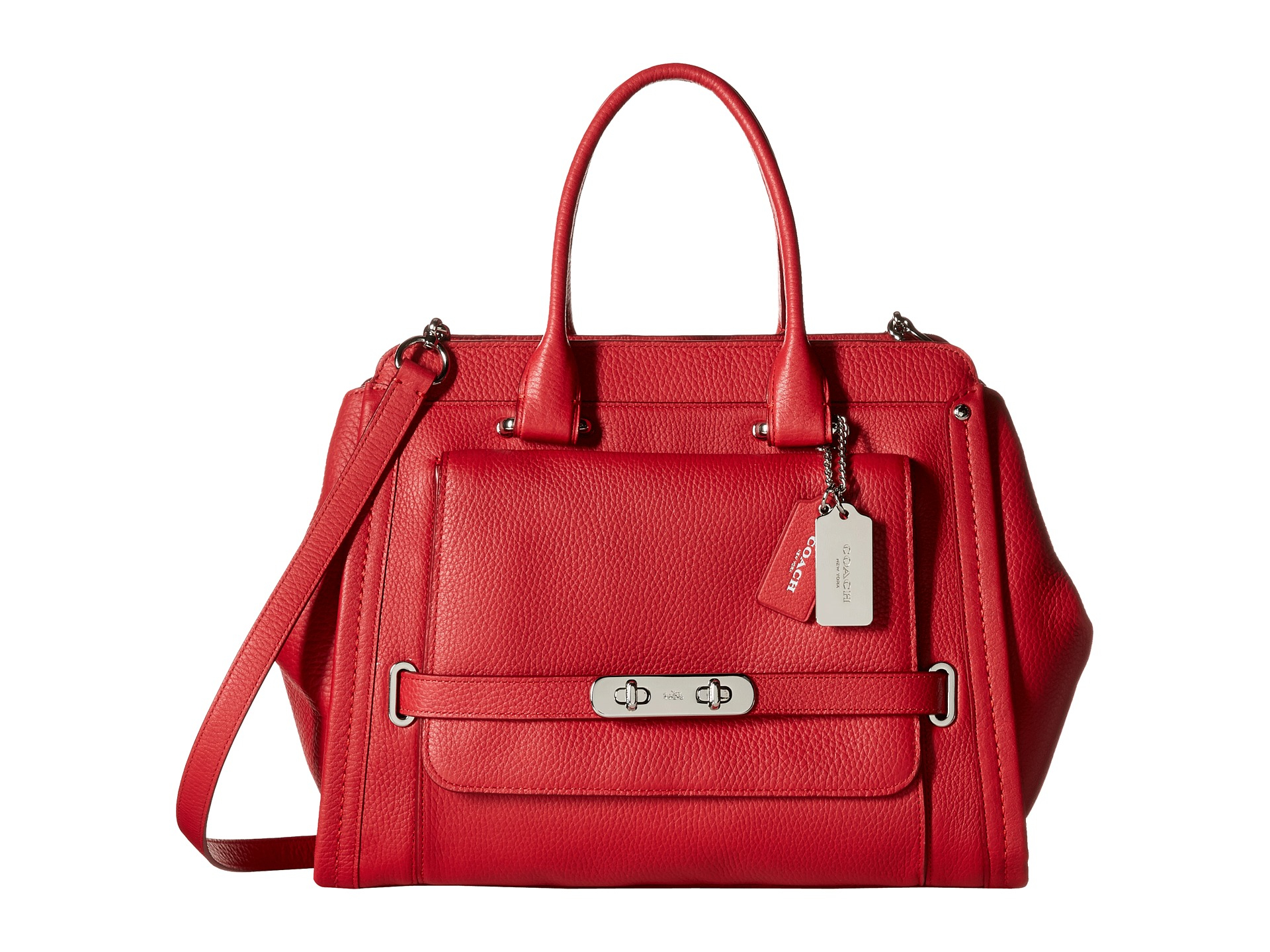 Lyst - Coach Soft Grain Swagger Frame in Red