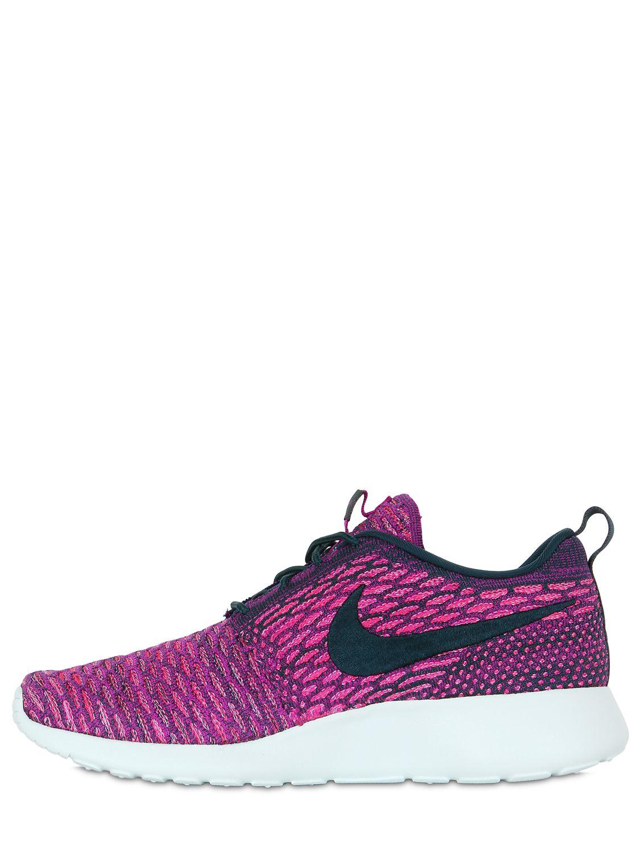 nike roshe run flyknit nylon sneakers in purple lyst. Black Bedroom Furniture Sets. Home Design Ideas