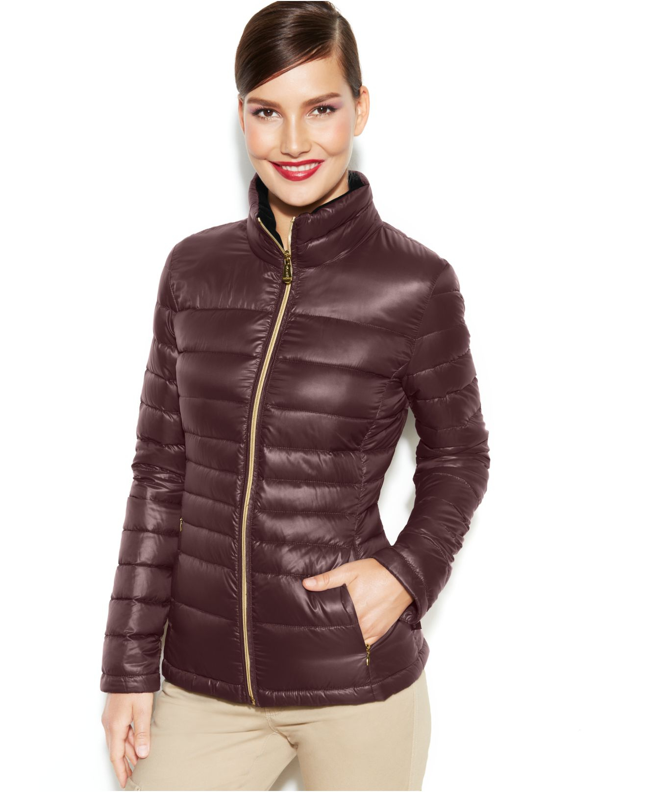 Calvin Klein Packable Quilted Down Puffer Coat In Red Lyst