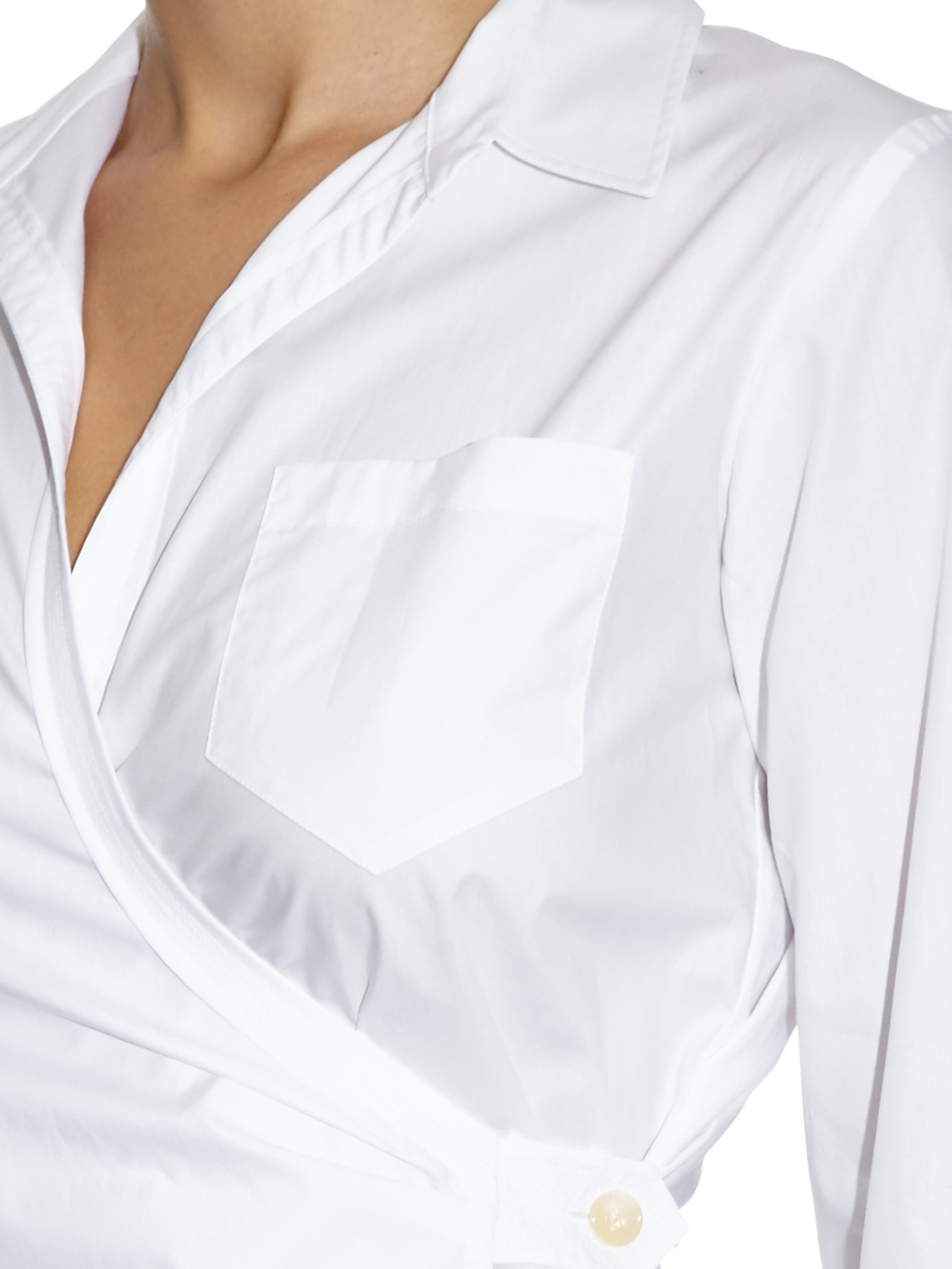 White Wrap Shirt Blouse
