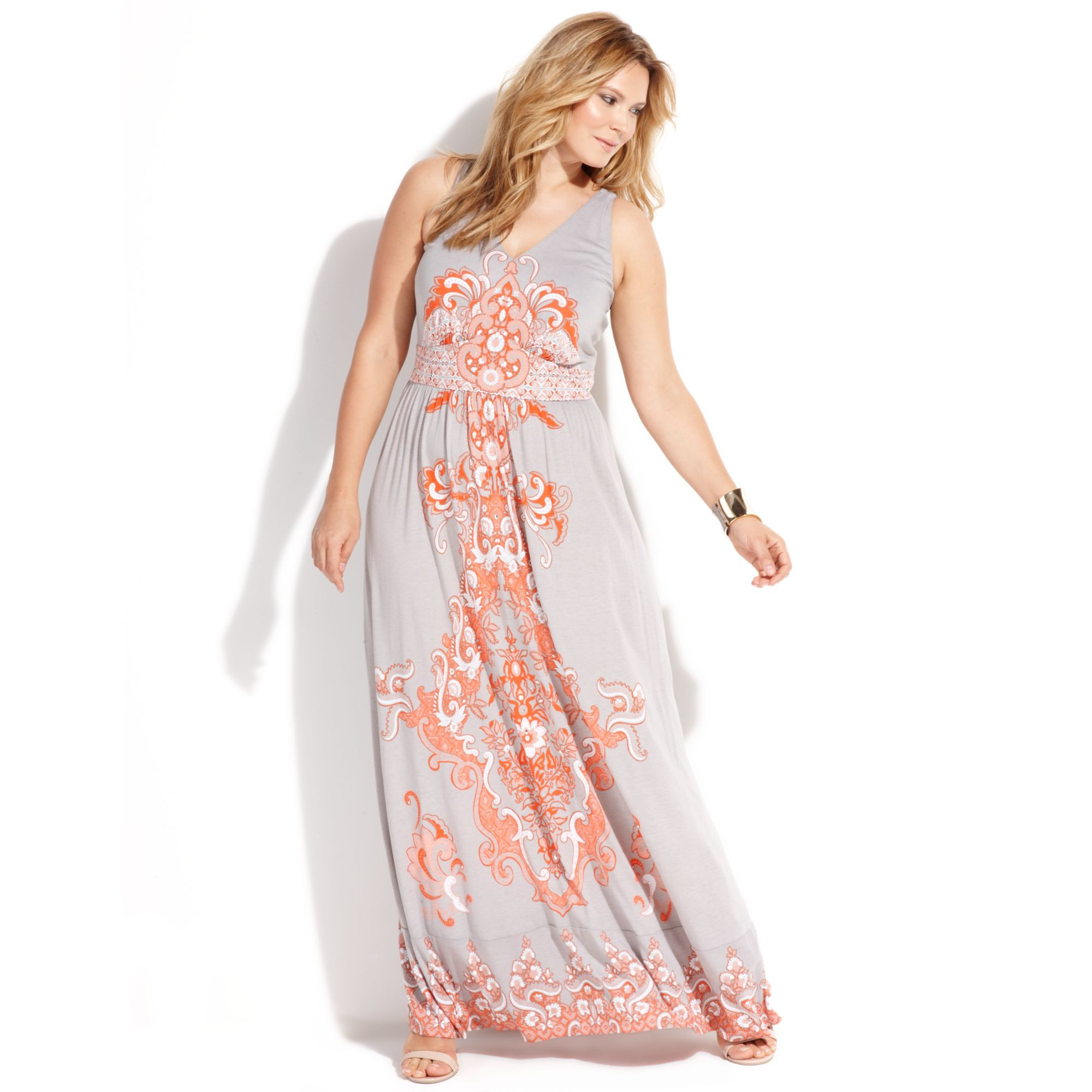 INC International Concepts Plus Size Sleeveless Paisleyprint Maxi ...