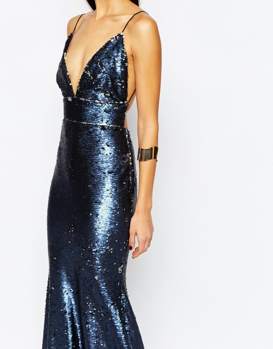 bbc0bea3a8a Club L Showstopper Open Back Sequin Maxi Dress With Fishtail in Metallic -  Lyst