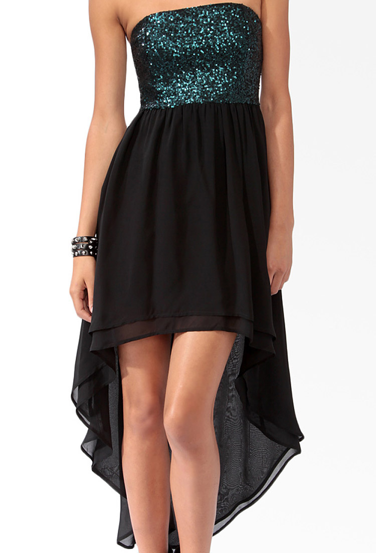 lyst forever 21 sequined highlow dress in green
