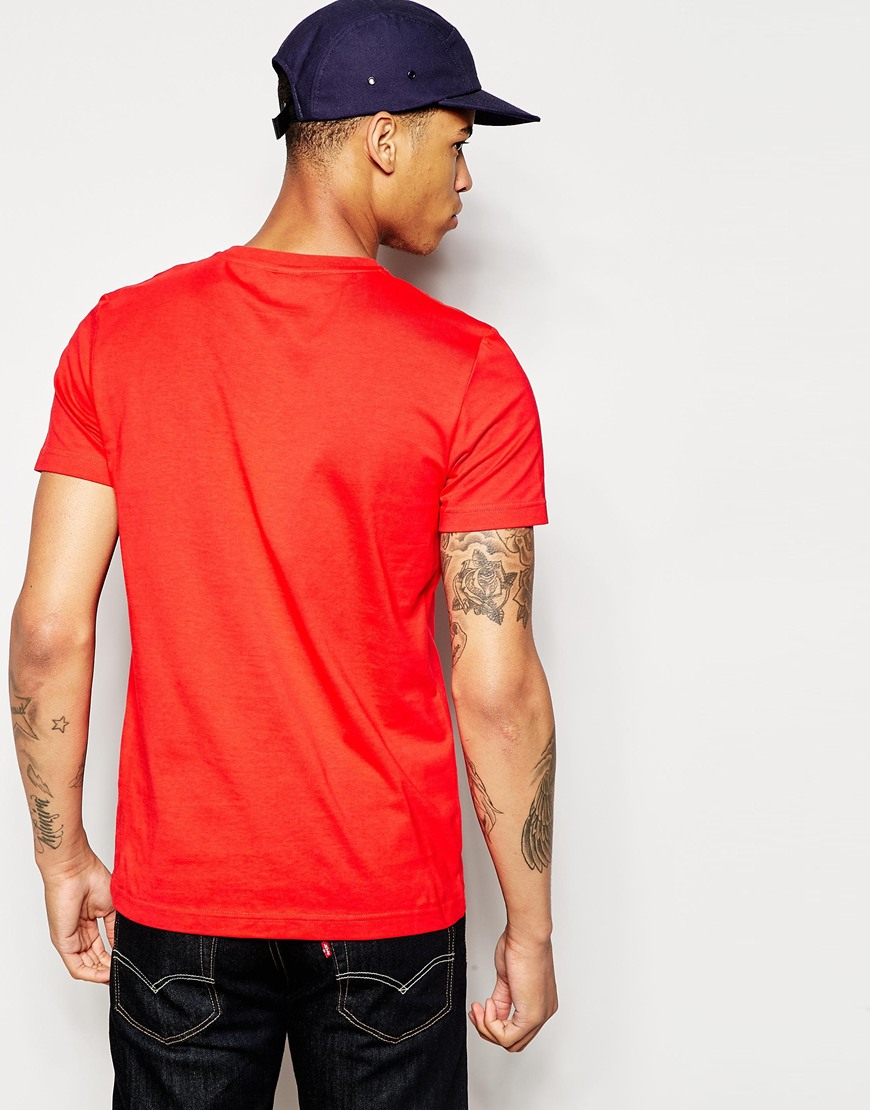 Le coq sportif t shirt in red for men lyst for Simply for sports brand t shirts