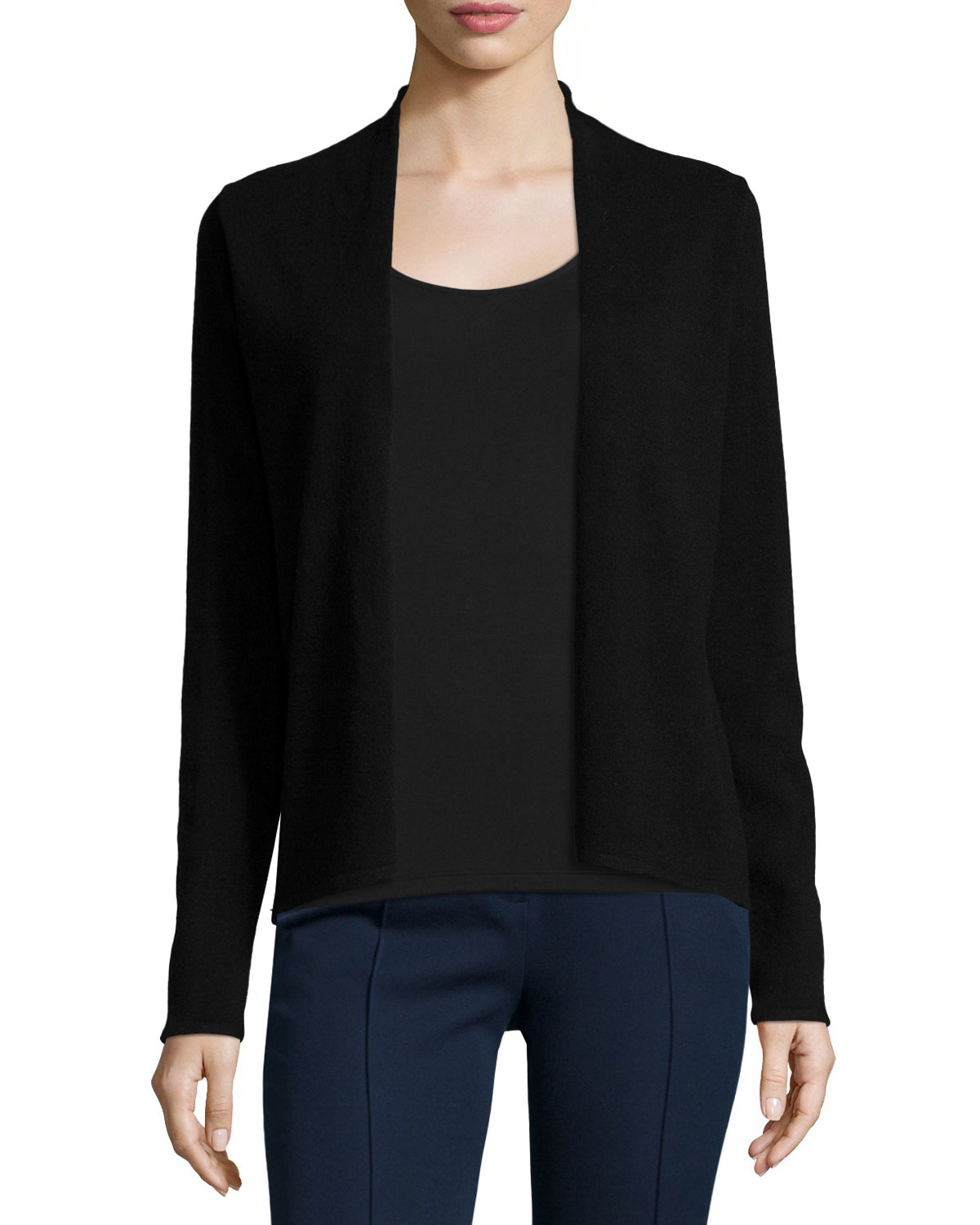 Elie tahari Stori Cashmere Open-front Sweater in Black | Lyst