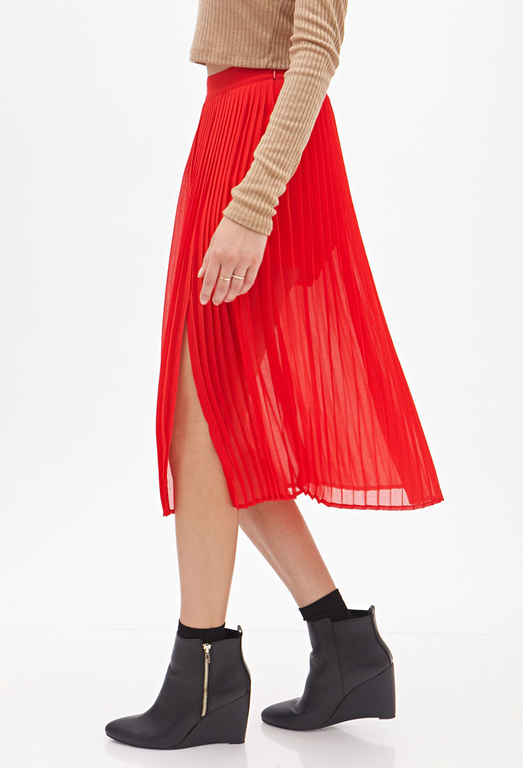 forever 21 pleated chiffon skirt in lyst
