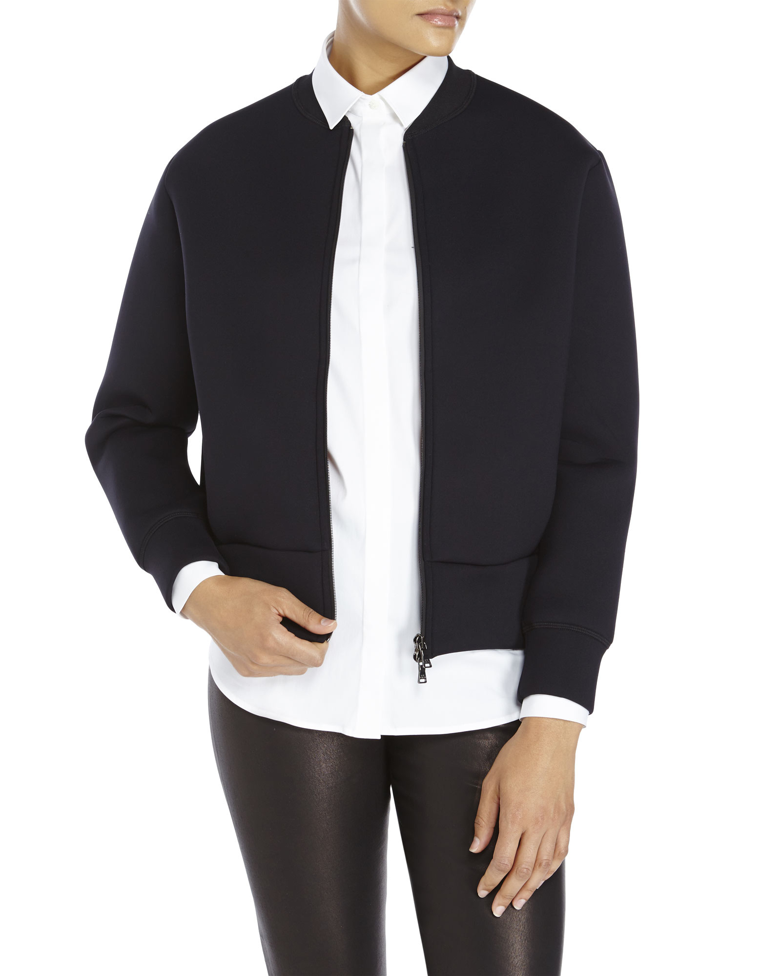 Neil barrett Neoprene Bomber Jacket in Blue | Lyst