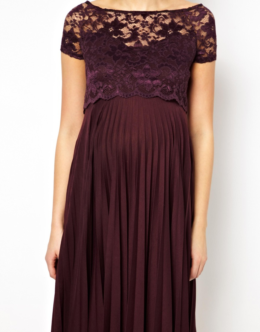 Lyst asos pleated midi dress with lace top in purple gallery ombrellifo Images