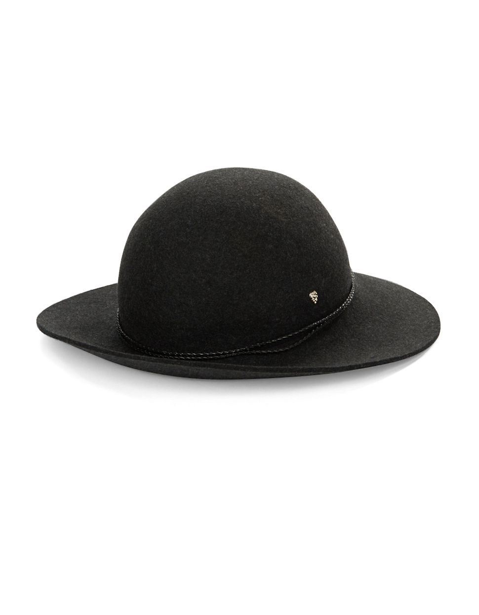 7592faabf653c Lyst - Helen Kaminski Brynn Leather-trimmed Wool Hat in Gray