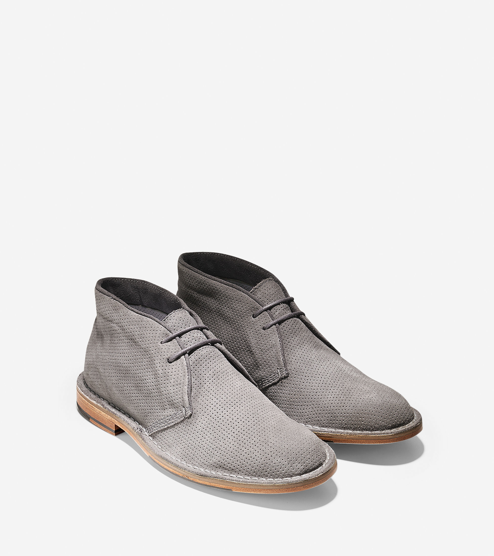 cole haan grover perforated suede chukka boots in gray for