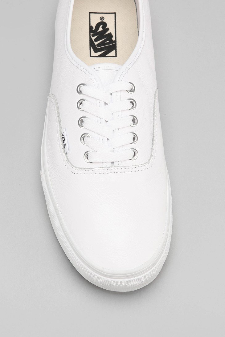 c9452560af Lyst - Vans Authentic Italian Leather Monochromatic Sneaker in White ...