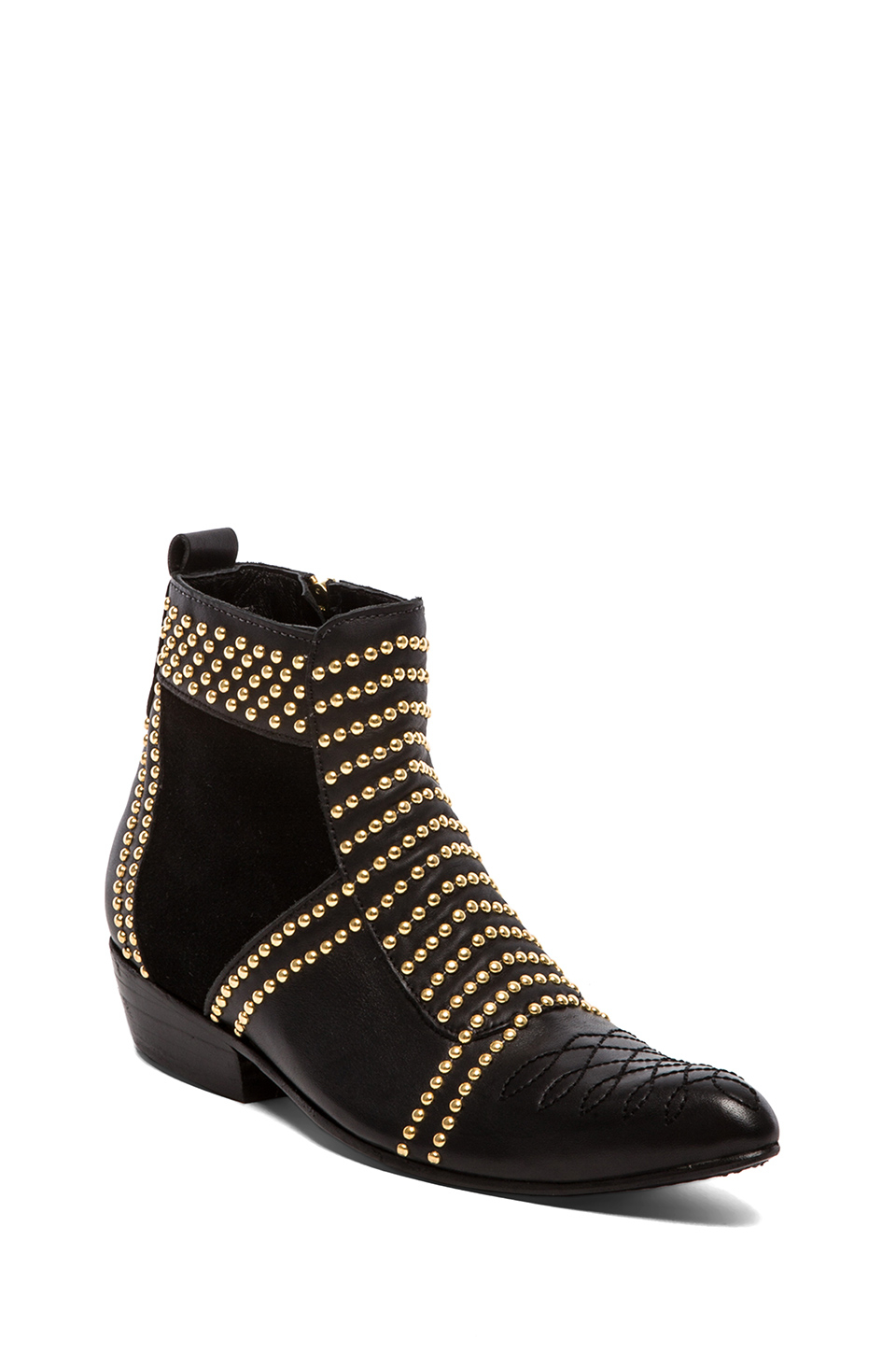 Black Suede Shoes With Gold Studs
