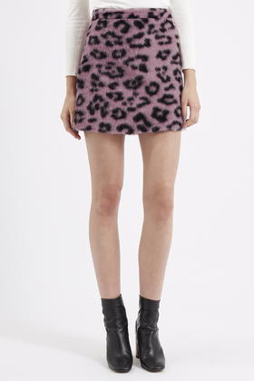 Topshop Fluffy Animal Patterned A-line Skirt in Pink | Lyst