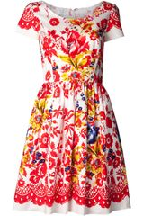 Oscar de la Renta Floral Day Dress - Lyst