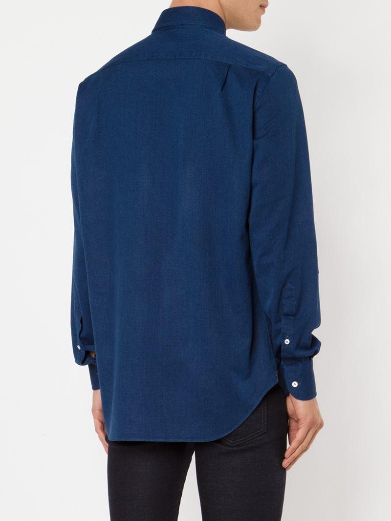 Lyst loro piana spread collar shirt in blue for men for What is a spread collar shirt