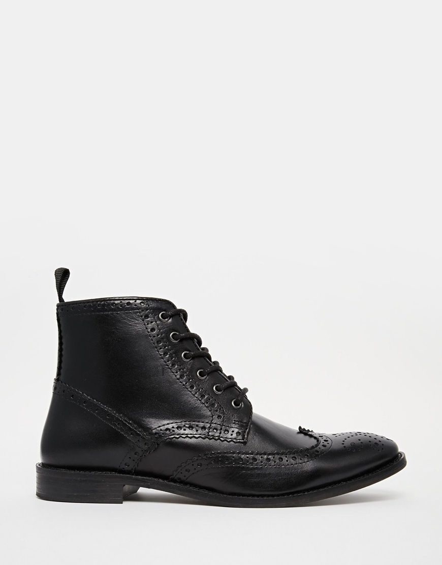 asos brogue boots in leather in black for lyst