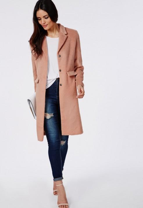 Missguided Hether Textured Tailored Boyfriend Coat Blush in Pink ...