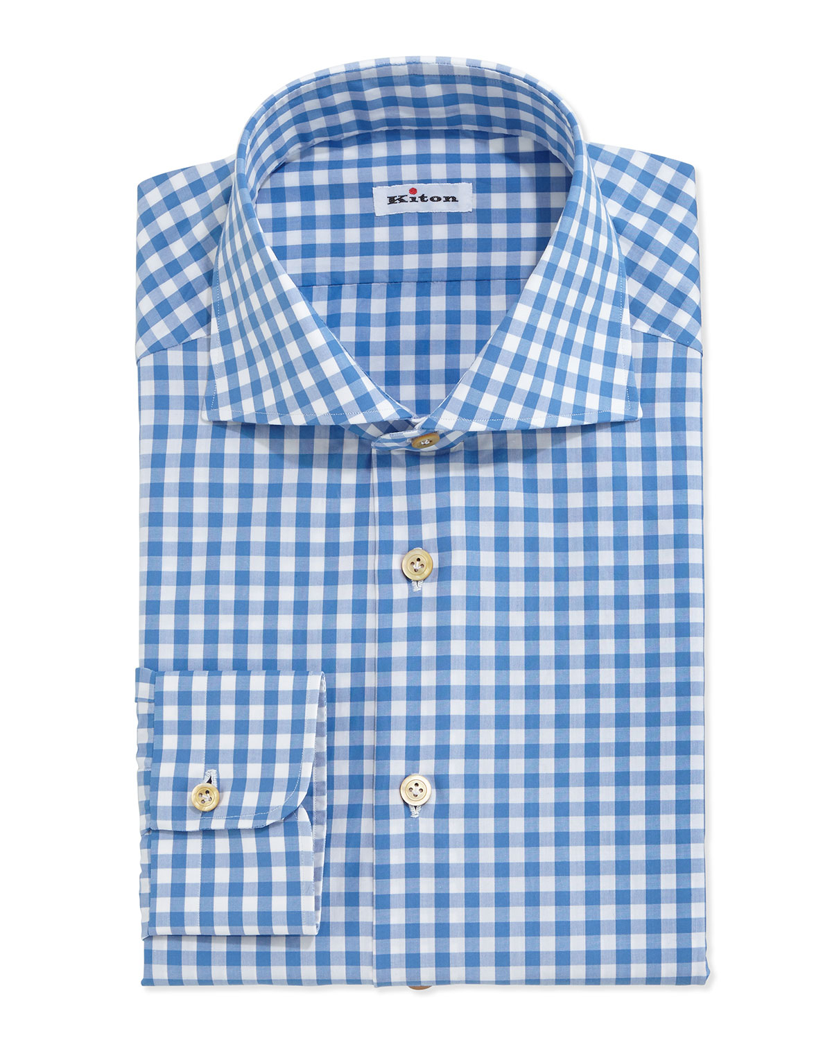 Lyst kiton gingham check dress shirt in blue for men for Blue check dress shirt
