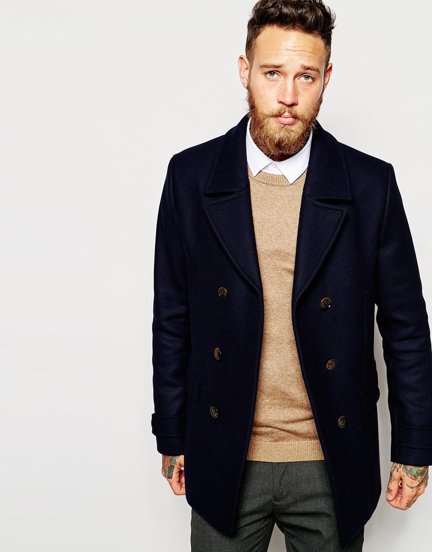 b23bf82c5 Lyst - Ted Baker Wool Rich Pea Coat in Blue for Men