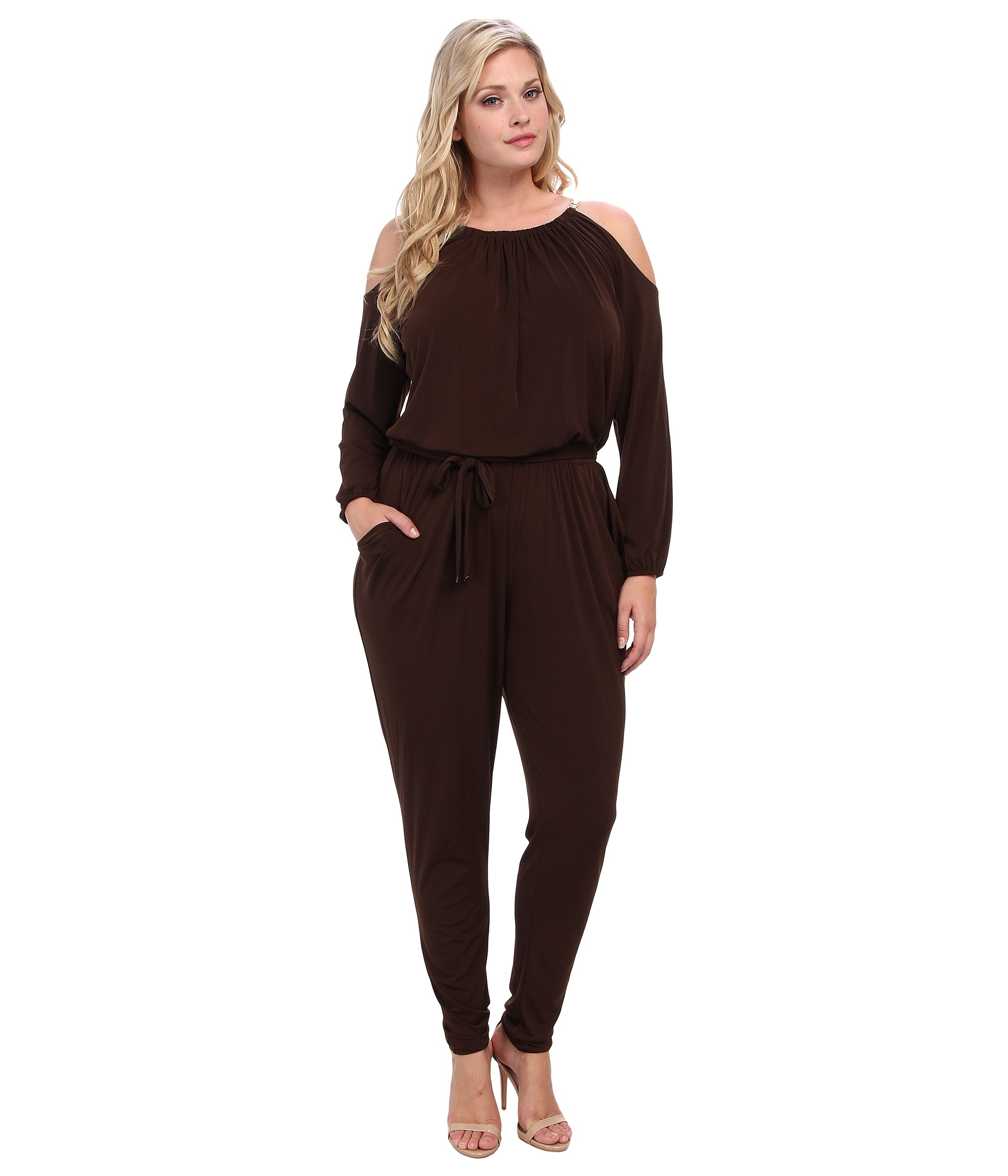michael michael kors plus size chain strap jumpsuit in brown chocolate lyst. Black Bedroom Furniture Sets. Home Design Ideas