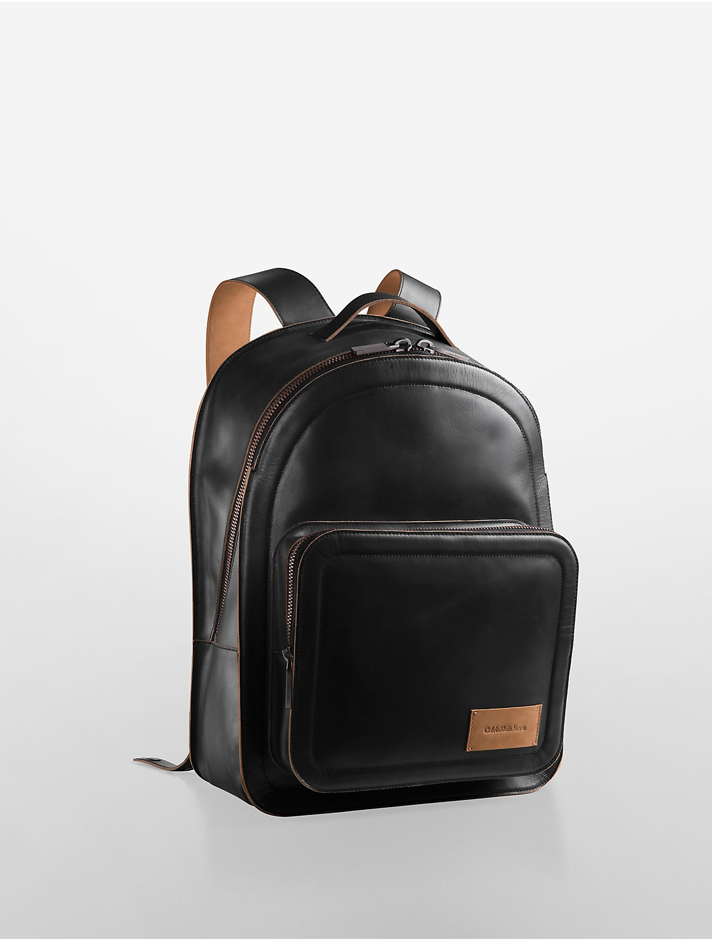 lyst calvin klein jeans waxed leather backpack in black. Black Bedroom Furniture Sets. Home Design Ideas